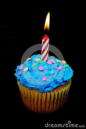 Free Celebration Cupcake With Candle Stock Photo - 4837020