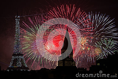 Bastille Day Fireworks Editorial Stock Photo