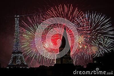 Bastille Day Fireworks Editorial Stock Photo