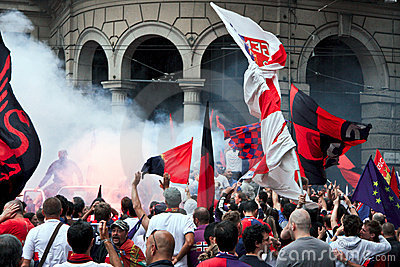 Celebration for Genoa football team Editorial Stock Image