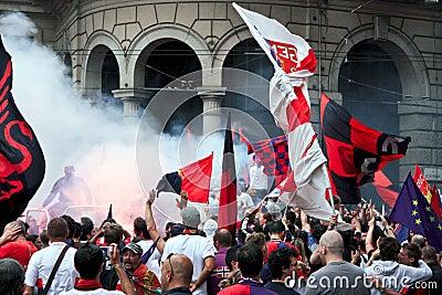 Celebration for Genoa football team Editorial Stock Image