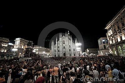 Celebration giuliano pisapia election may, 30 2011 Editorial Stock Photo
