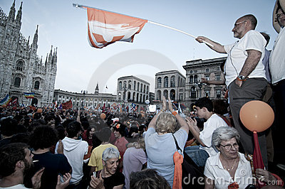 Celebration giuliano pisapia election may, 30 2011 Editorial Image