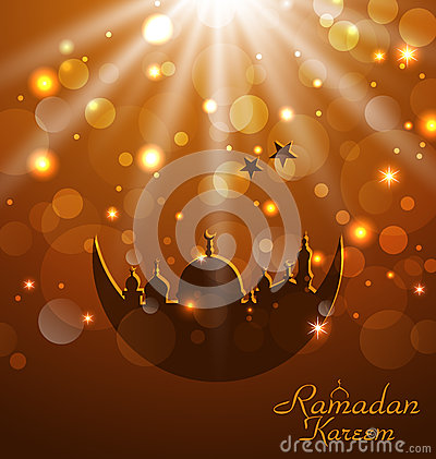 Celebration glowing card for Ramadan Kareem