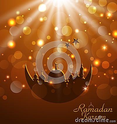 Celebration glowing card for Ramadan Kareem