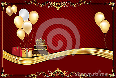 Celebration Red Background With Balloons Stock Photo