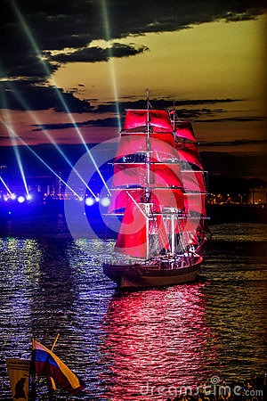 Free Celebration Scarlet Sails Show During The White Nights Festival, Royalty Free Stock Photos - 63507338