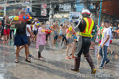 Celebration of Songkran Festival, the Thai New Year on Phuket Editorial Image
