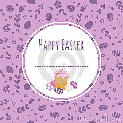 Free Celebratory Background With Easter Cake, Painted Eggs And Space For Text. Royalty Free Stock Photography - 87692547