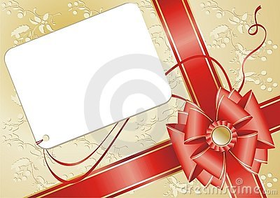 Celebratory card, with red ribbon.