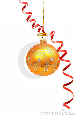 Free Celebratory Sphere Of Yellow Color And Red Streamer 1 Royalty Free Stock Image - 1767036