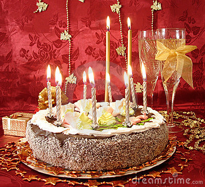 Free Celebratory Table (cake And Candles, Two Glasses With Champagne, Gift Boxes) On Red Stock Images - 1962134