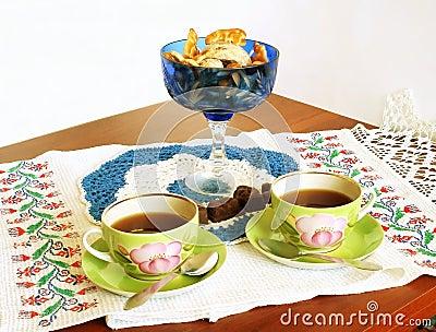 Celebratory tea drinking