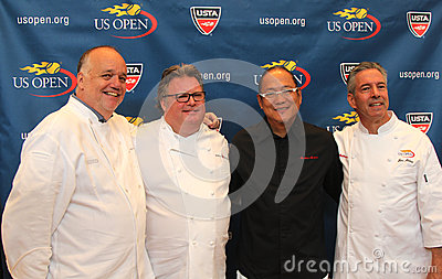 Celebrity chefs David Burke, Tony Mantuano , Masaharu Morimoto and Jim Abbey during US Open food tasting preview Editorial Photography