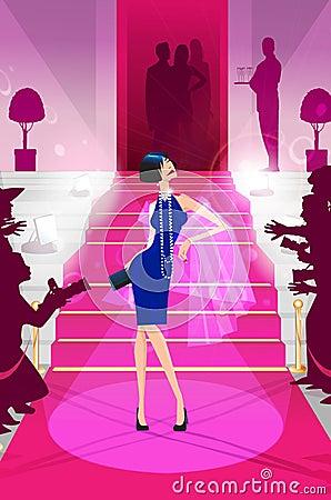 Celebrity on the red carpet illustration