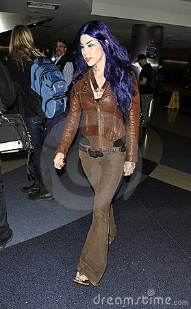 Celebrity tattooist Kat Von D at LAX Editorial Image