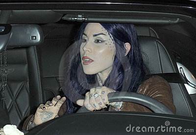 Celebrity tattooist Kat Von D is seen at LAX Editorial Stock Photo