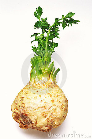 Celeriac root and leaves
