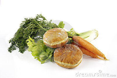 Celery with Carrots and Doughnuts