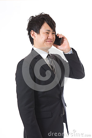 Cell-phone and businessman