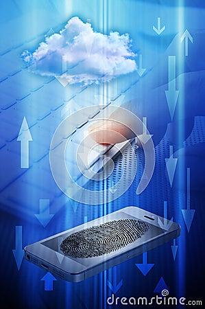 Fingerprint Phone Computer Cloud Security