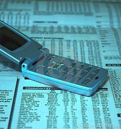 Cell phone on financial news