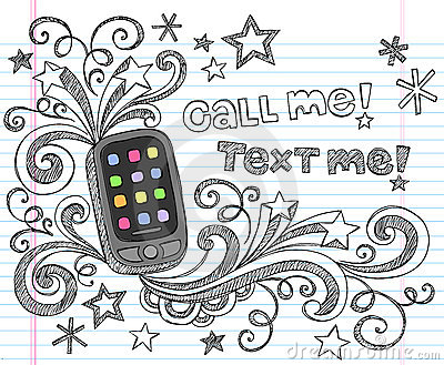 Cell Phone PDA Back to School Doodle Set Vector