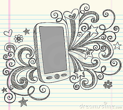 Cell Phone PDA Sketchy Doodles Vector