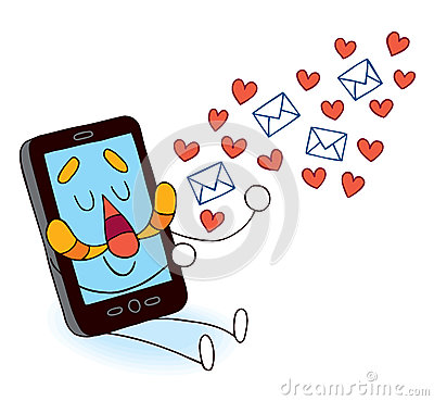 Cell phone sending love messages