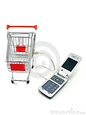 Cell phone & shopping trolley