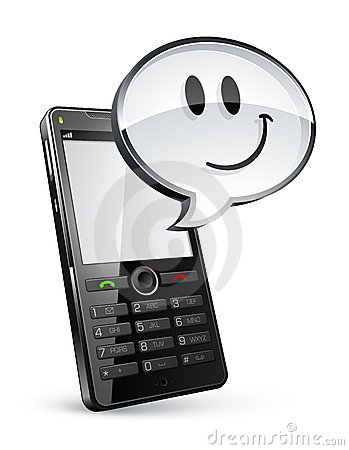 Cell phone with speech bubble