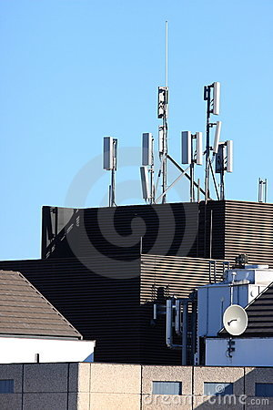Cell site aerials on high rise building