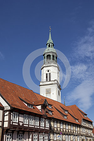 Free Celle, St. Marys Church And Half-timbered Houses Stock Photos - 26552113