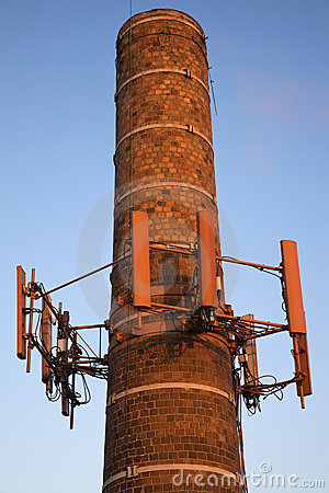 Cellular antennas installed on the chimney