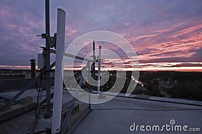 Cellular antennas seen during sunset