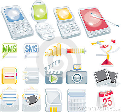 Free Cellular Icon Set Stock Image - 8172441