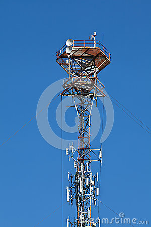 Cellular mobile radio transmission pole tower