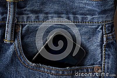 Cellular Phone in Blue Jeans Pocket
