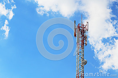 Cellular tower in blue sky