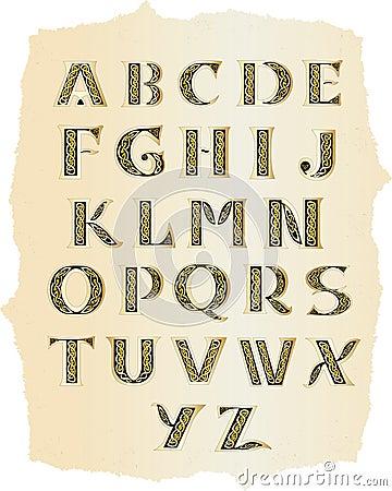 Celtic alphabet at old paper
