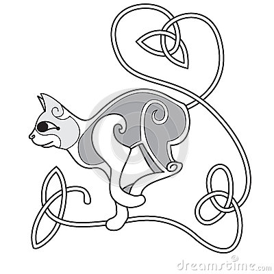 Celtic Cat with heart knotted tail