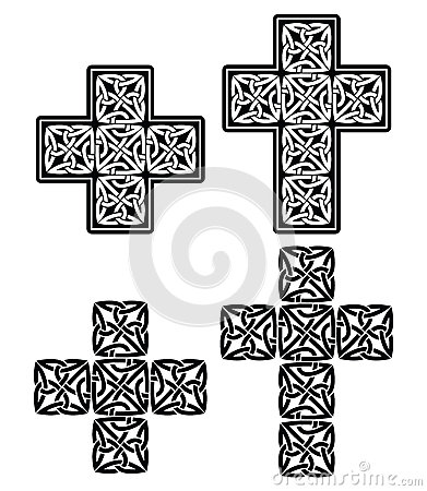 Celtic cross - set of traditional designs in black Stock Photo