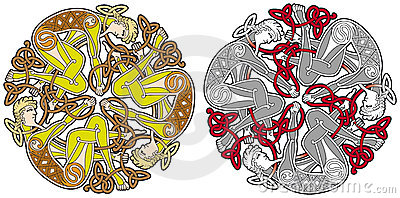 Celtic design element with birds and animals