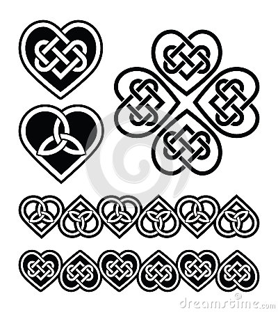 Set od traditional Celtic symbols, knots, braids in black and white.