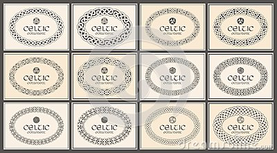 Celtic knot braided oval frame border ornament. A4 size. Vector Illustration