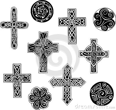 Celtic knot crosses and cpirals