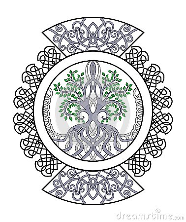 Celtic ornament with tree of life , decorative curls in circle Stock Photo