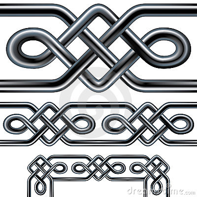 Celtic rope seamless border design with corner ele