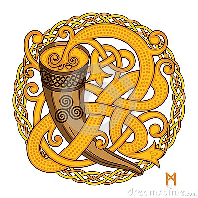 Free Celtic, Scandinavian Design. Drinking Horn With Mead And Woven Pattern Stock Images - 100483794