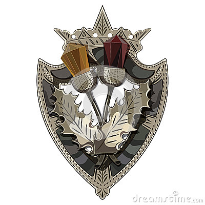 Free Celtic Scottish Brooch In The Shape Of A Shield With Crown, Scottish Thistle Adorned With Stones Like Garnet And Amber Royalty Free Stock Photography - 92630107